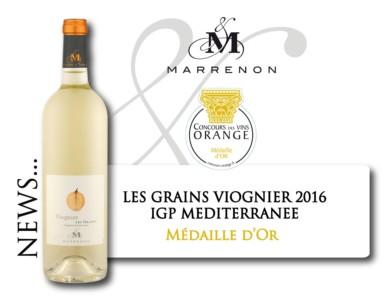 Médaille d'Or à Orange pour Les Grains Viognier 2016